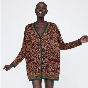 NWT ZARA animal print knit sweater